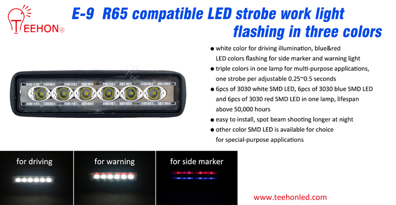 LED strobe work light flashing in triple color mode