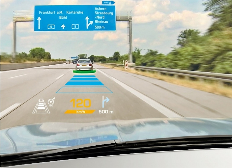 Head up display units on a driving car