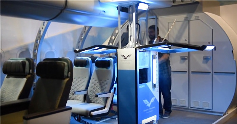The latest germ-killing robot can disinfect the inside of an airplane to improve hygiene inside