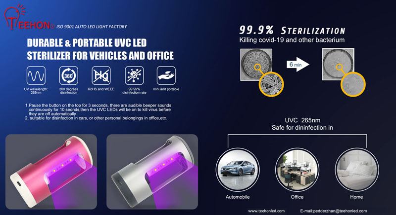 portable uvc led sterilizer for automobile and office