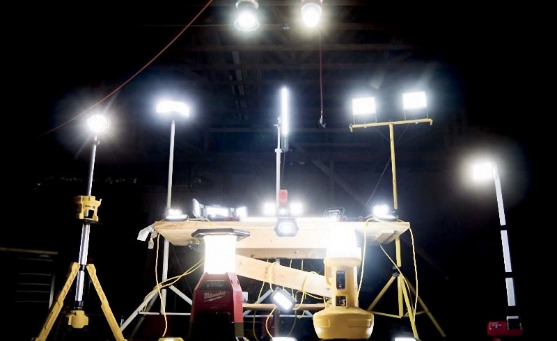 LED work lights are easy to install and move for temporary lighting on work sites